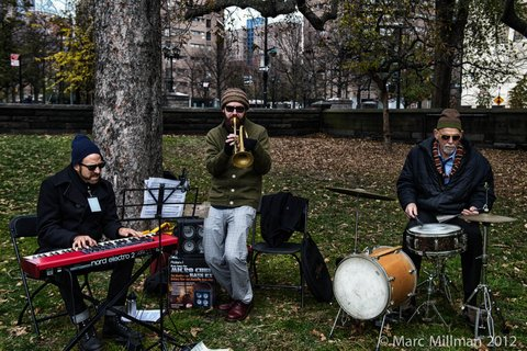 Knuffke Stacken Duo plus Bill Goodwin @ Duke Ellington Circle1- Jazz & Colors Central Park (Sat 11 10 12)