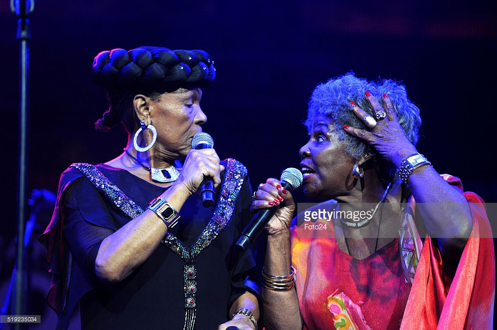CAPE TOWN, SOUTH AFRICA – APRIL 02: (SOUTH AFRICA OUT): South African veteran artists; Dorothy Masuka and Abigail Kubeka perform during the 17th annual Cape Town International Jazz Festival on April 02, 2016 in Cape Town, South Africa. The Cape Town International Jazz Festival (CTIJF) referred to as 'Africa's Grandest Gathering' is the largest music festival in sub-Saharan Africa. (Photo by Lerato Maduna/Foto24/Gallo Images/Getty Images)